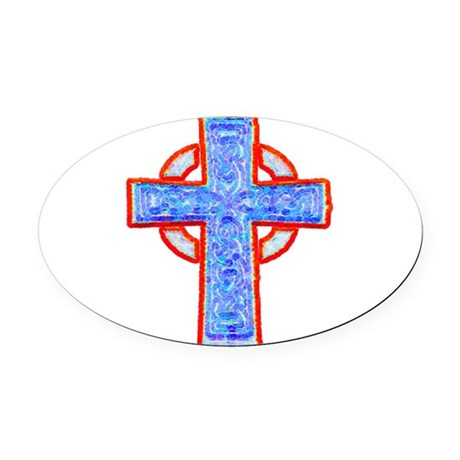 cross29a.png Oval Car Magnet