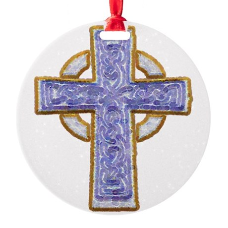 cross29.png Round Ornament