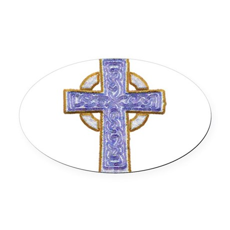 cross29.png Oval Car Magnet