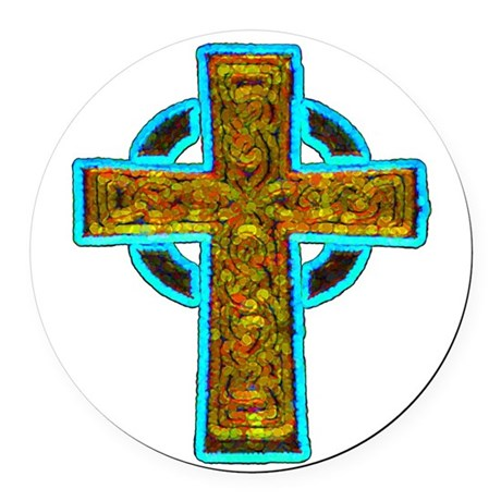 cross29b.png Round Car Magnet