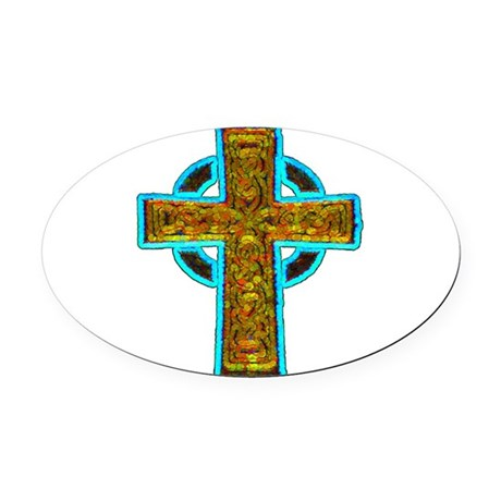 cross29b.png Oval Car Magnet