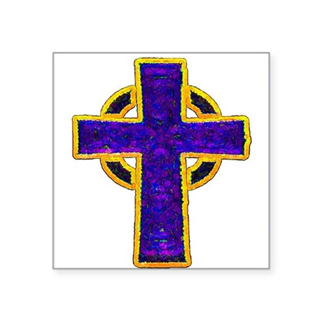 "cross29c.png Square Sticker 3"" x 3"""