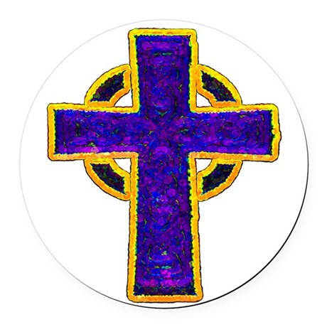 cross29c.png Round Car Magnet