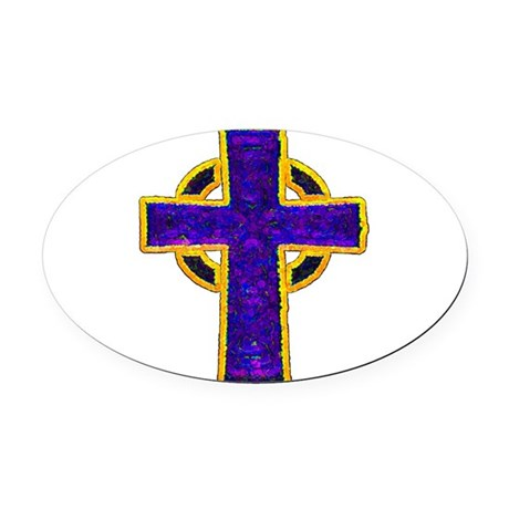 cross29c.png Oval Car Magnet