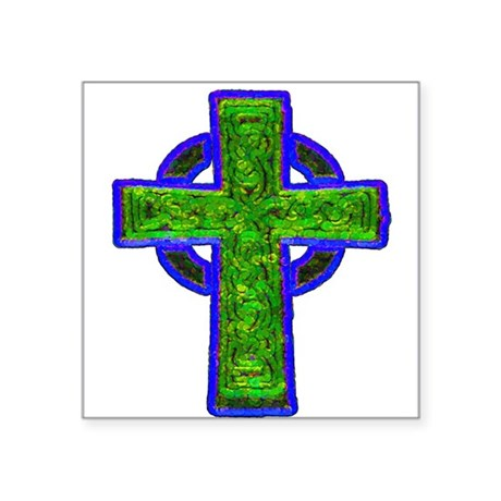 "cross29e.png Square Sticker 3"" x 3"""