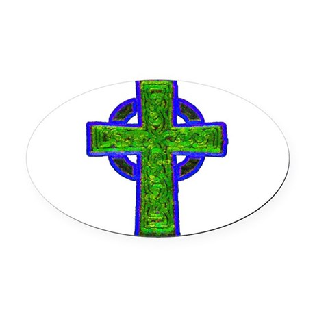 cross29e.png Oval Car Magnet