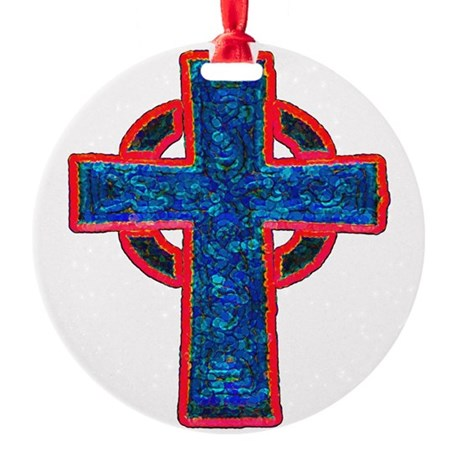 cross29f.png Round Ornament