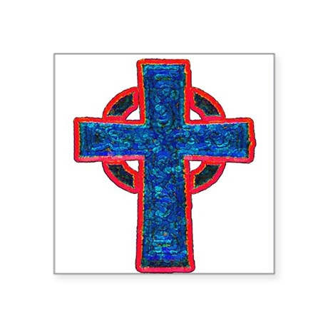 "cross29f.png Square Sticker 3"" x 3"""