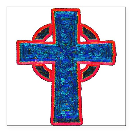 "cross29f.png Square Car Magnet 3"" x 3"""