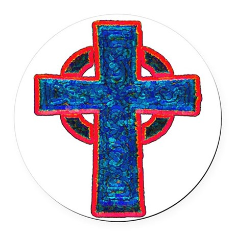 cross29f.png Round Car Magnet