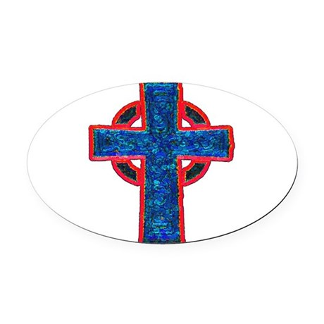 cross29f.png Oval Car Magnet