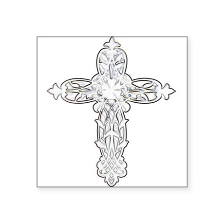 "cross30.png Square Sticker 3"" x 3"""