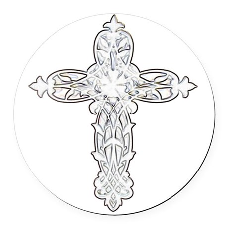 cross30.png Round Car Magnet