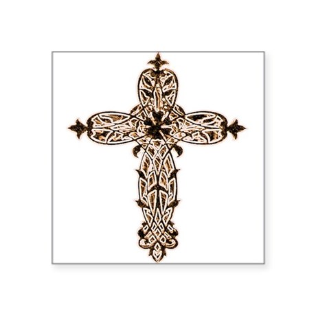 "cross30b2.png Square Sticker 3"" x 3"""