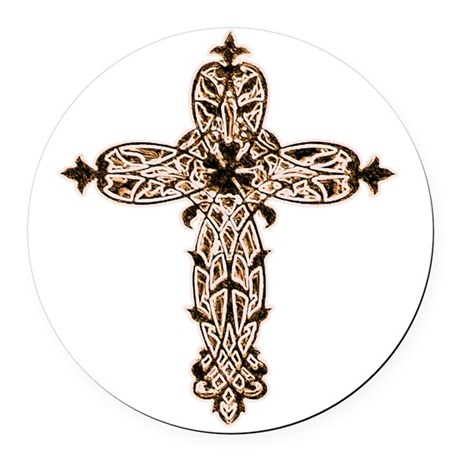 cross30b2.png Round Car Magnet