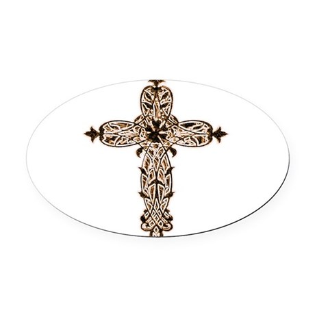 cross30b2.png Oval Car Magnet