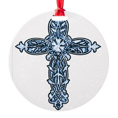 cross30b.png Round Ornament