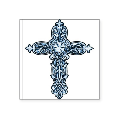 "cross30b.png Square Sticker 3"" x 3"""