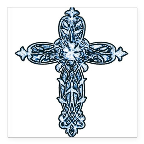 "cross30b.png Square Car Magnet 3"" x 3"""