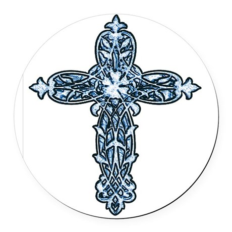 cross30b.png Round Car Magnet