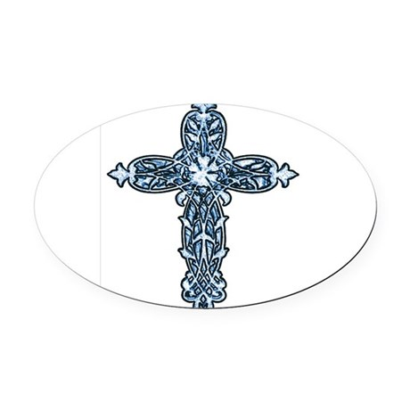 cross30b.png Oval Car Magnet