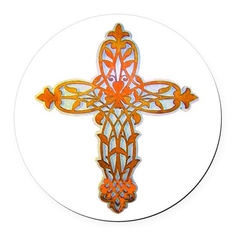 cross31b2.png Round Car Magnet