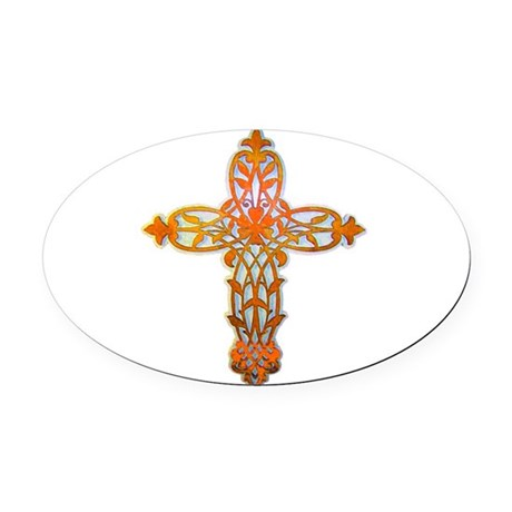 cross31b2.png Oval Car Magnet