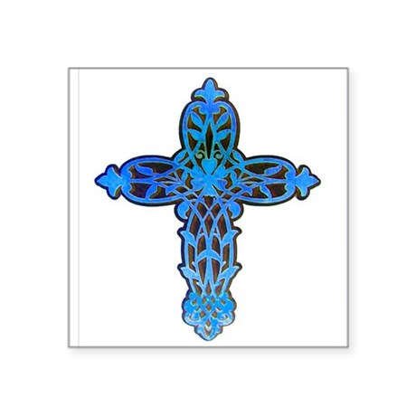 "cross31b.png Square Sticker 3"" x 3"""