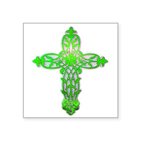 "cross31c2.png Square Sticker 3"" x 3"""
