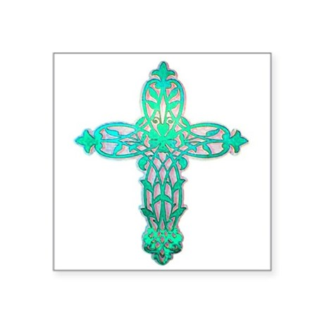 "cross31d2.png Square Sticker 3"" x 3"""