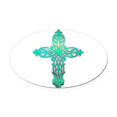 cross31d2.png Oval Car Magnet