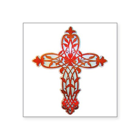 "cross31g2.png Square Sticker 3"" x 3"""