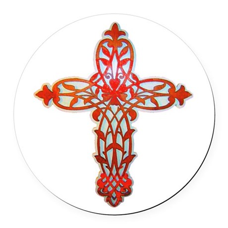 cross31g2.png Round Car Magnet