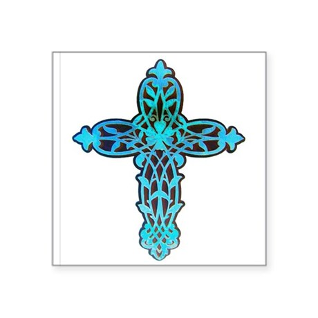 cross31g.png Square Sticker 3&quot; x 3&quot;