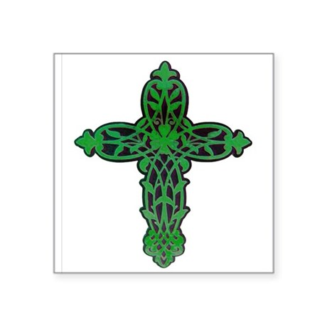 "cross31f.png Square Sticker 3"" x 3"""