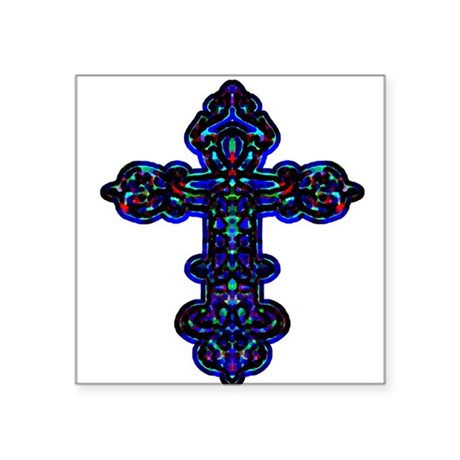"cross26c.png Square Sticker 3"" x 3"""