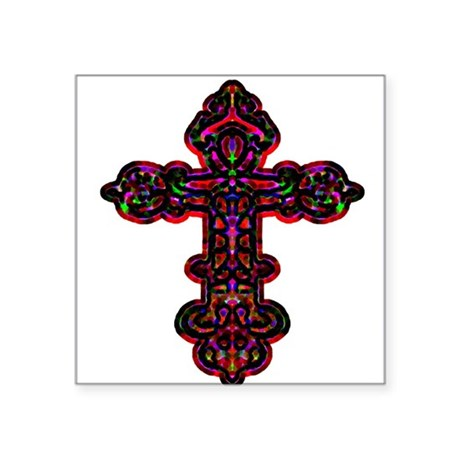 "cross26b.png Square Sticker 3"" x 3"""