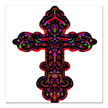 "cross26b.png Square Car Magnet 3"" x 3"""