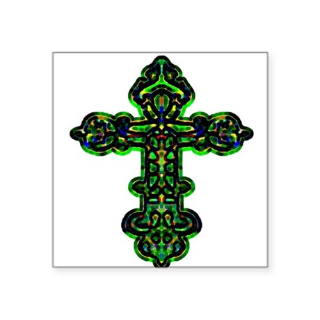 "cross26a.png Square Sticker 3"" x 3"""