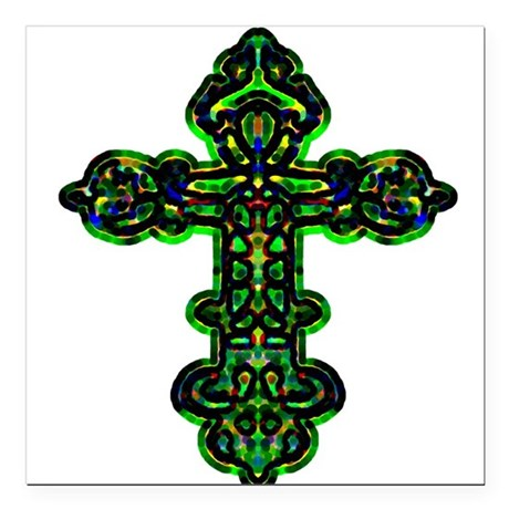 "cross26a.png Square Car Magnet 3"" x 3"""
