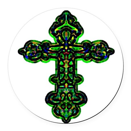 cross26a.png Round Car Magnet