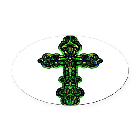 cross26a.png Oval Car Magnet