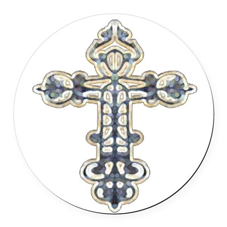 cross262.png Round Car Magnet
