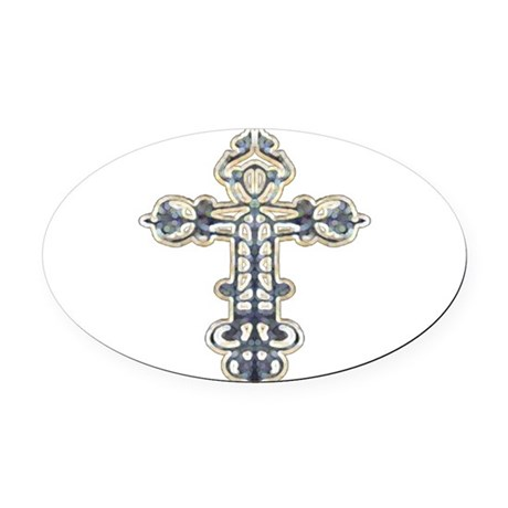cross262.png Oval Car Magnet