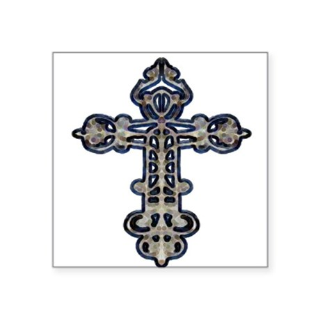 "cross26.png Square Sticker 3"" x 3"""