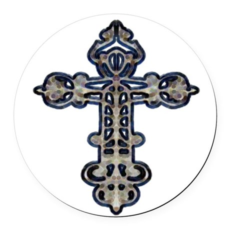 cross26.png Round Car Magnet