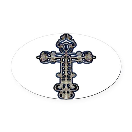 cross26.png Oval Car Magnet