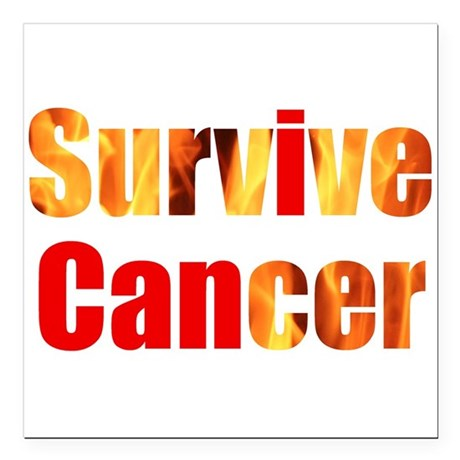 "Survive Cancer Square Car Magnet 3"" x 3"""