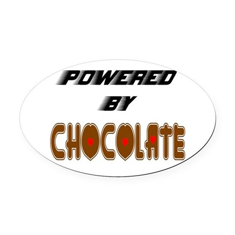 Powered by Chocolate Oval Car Magnet