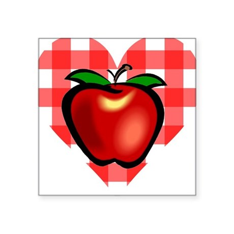 "applechecks2.png Square Sticker 3"" x 3"""